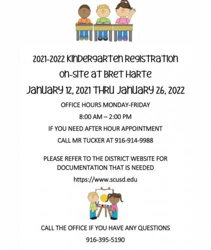 Kindergarten Registration at Bret Harte - January 12 through 26, 8am to 2pm